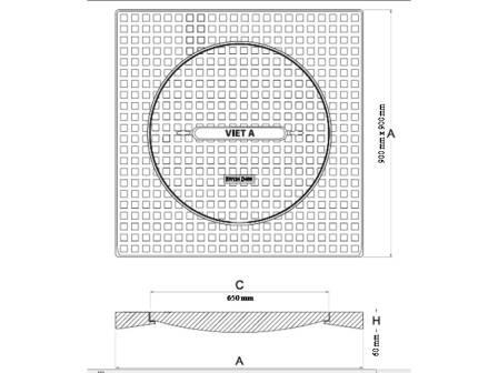 bản vẽ nắp hố ga vuông khung dương